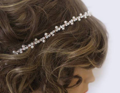 Rose Gold Bridal Headband | Hair Accessories for Bridesmaids | Pearl Rhinestone Hair Accessories JazzyAndGlitzy