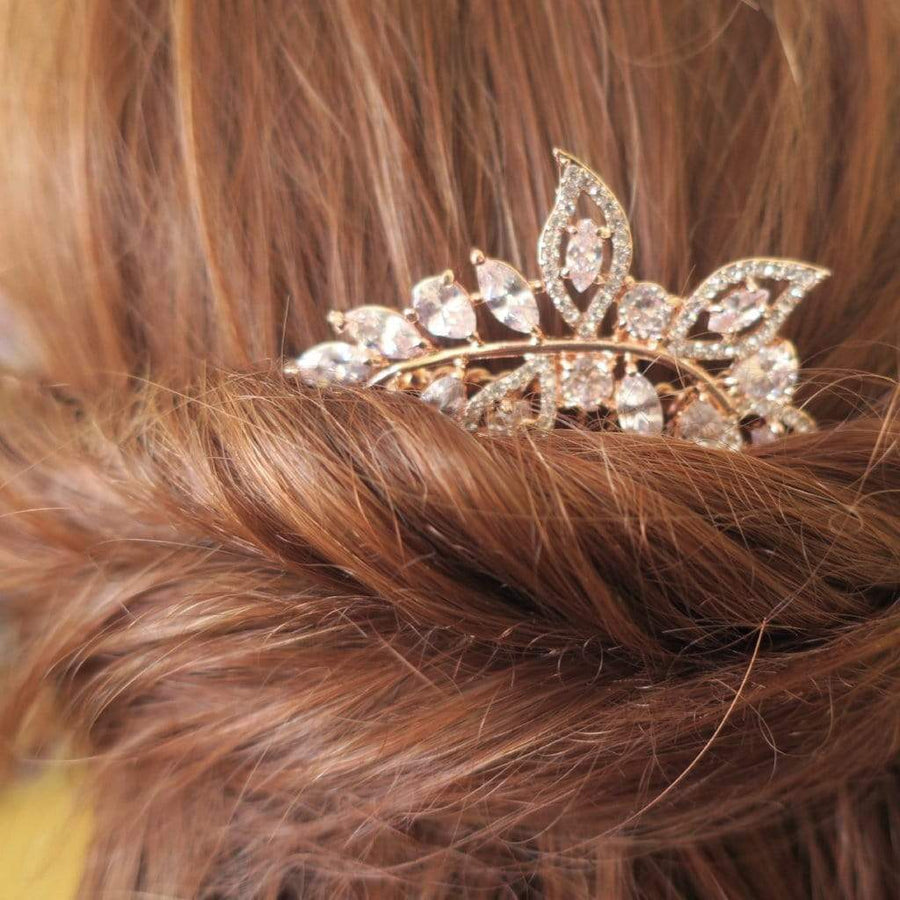 Rose Gold Cubic Zirconia Leaves Hair Comb Hair Accessories No pearl JazzyAndGlitzy 90444764