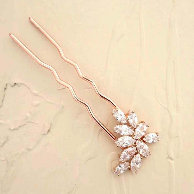 Rose Gold Leaf Crystal Bridal Hair Pin