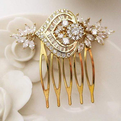 Rose Gold Wedding Hair Comb Cubic Zirconia | Jazzy And Glitzy Hair Accessories Gold JazzyAndGlitzy emmaya 90444780