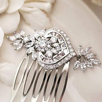 Rose Gold Wedding Hair Comb Cubic Zirconia | Jazzy And Glitzy Hair Accessories Silver JazzyAndGlitzy emmaya 90444779
