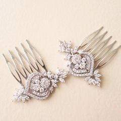 Small Bridal Hair Comb with Flower Leaf Cubic Zirconia | JazzyAndGlitzy Hair Accessories Silver JazzyAndGlitzy mia12 90444577