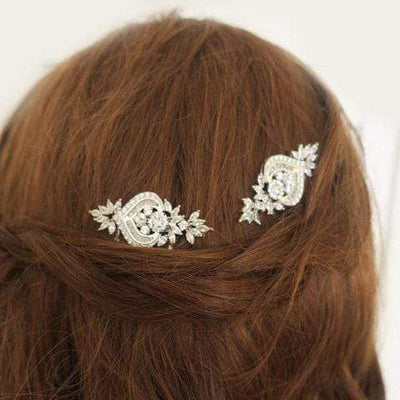 Small Bridal Hair Comb with Flower Leaf Cubic Zirconia | JazzyAndGlitzy Hair Accessories JazzyAndGlitzy