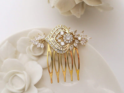Small Bridal Hair Comb with Flower Leaf Cubic Zirconia | JazzyAndGlitzy Hair Accessories Gold JazzyAndGlitzy mia13 90444578