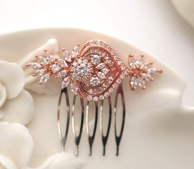 Small Bridal Hair Comb with Flower Leaf Cubic Zirconia | JazzyAndGlitzy Hair Accessories Rose Gold JazzyAndGlitzy mia11 90444576
