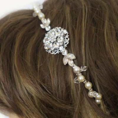 Swarovski Bridal Headband Pearl and Crystal with Flower and Leaves Hair Accessories JazzyAndGlitzy