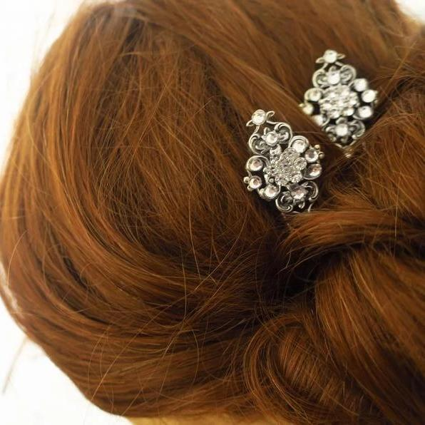 Swarovski Crystal Bridal Hair Pins Art Deco