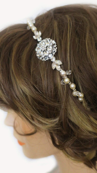Swarovski Crystal Pearl Tiara Wedding Hair Accessories JazzyAndGlitzy