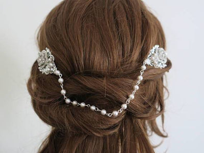 The Great Gatsby Inspired Bridal Headpiece 1920's Head Drape Hair Accessories JazzyAndGlitzy