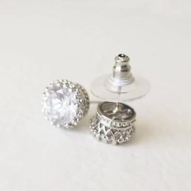 Cubic Zirconia Stud Earrings 2 Carat 8mm Round