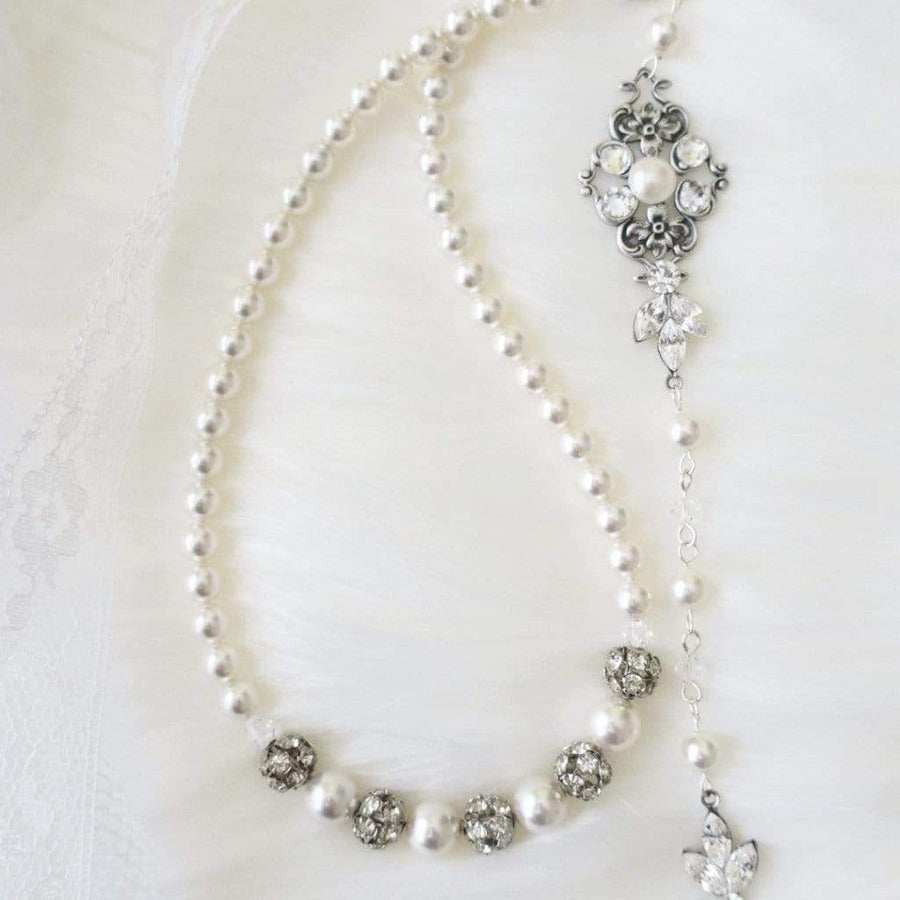 Backdrop Bridal Necklace Necklace White Ivory JazzyAndGlitzy 90444525