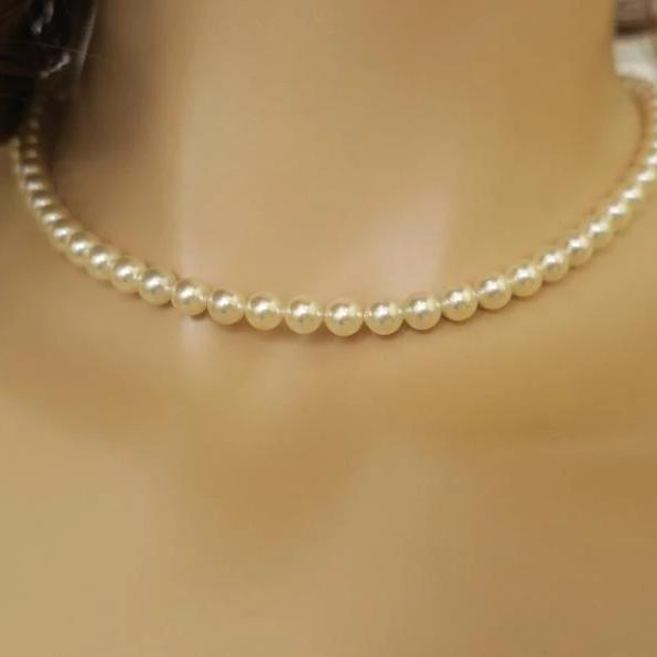 Backdrop Necklace Pearl Cubic Zirconia Back Wedding Jewelry JazzyAndGlitzy