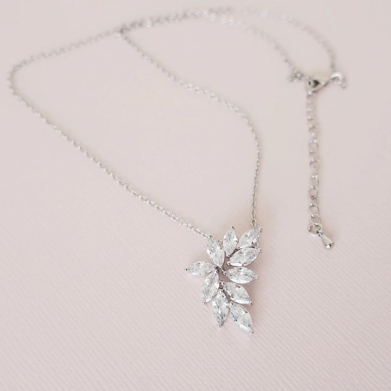 CZ Marquise Leaf Pendant Necklace