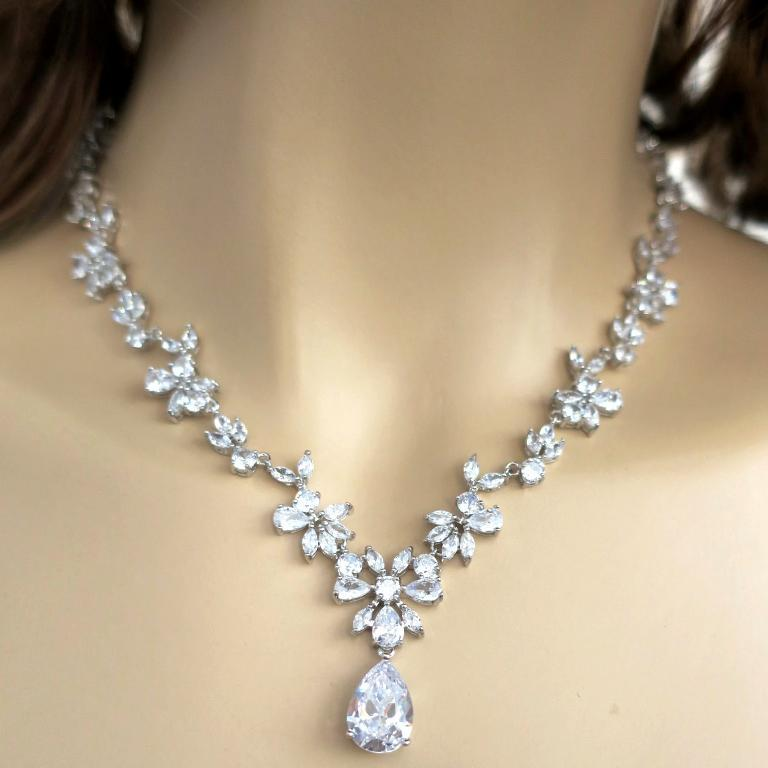 Dainty Crystal Drop Bridal Necklace