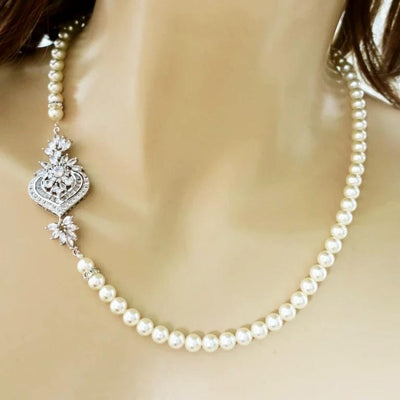 Swarovski Bridal Necklace with Cubic Zirconia Brooch Necklace JazzyAndGlitzy