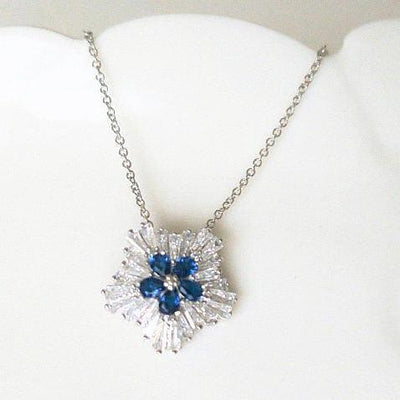 Winter Wonderland Snowflake Bridal Crystal Necklace with Blue Zircon MYRTLE Necklace JazzyAndGlitzy 90444859