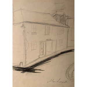 Alan Lowndes Pencil Drawing Alfred Wallis House- Northern Art - De Lacey Fine Art