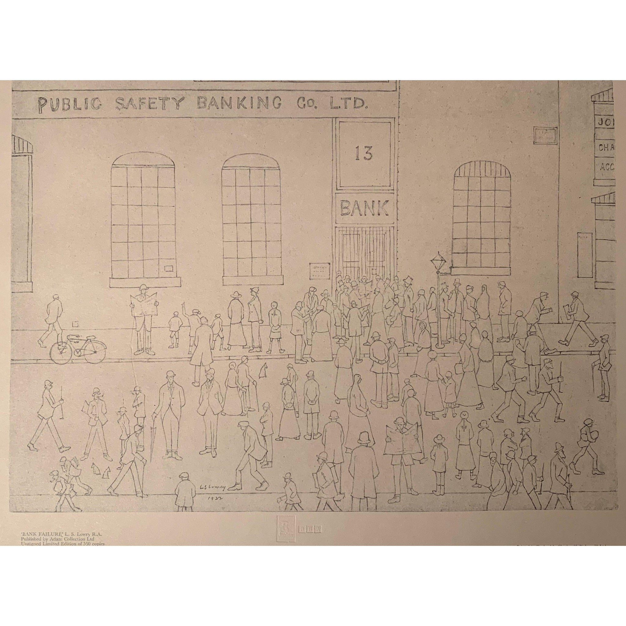 L S Lowry - Ltd Edition Print - Bank Failure
