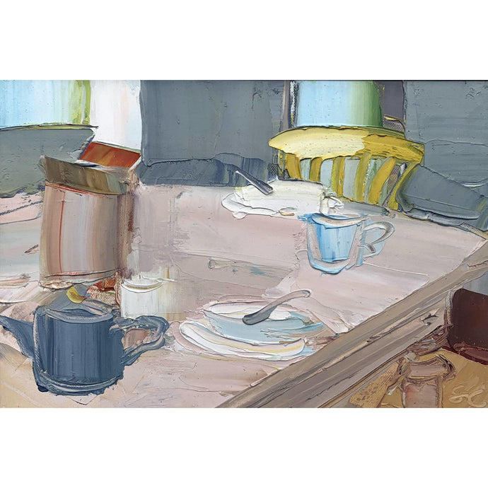 Sarah Carvell - The Breakfast Table - Yellow Chair - De Lacey Fine Art