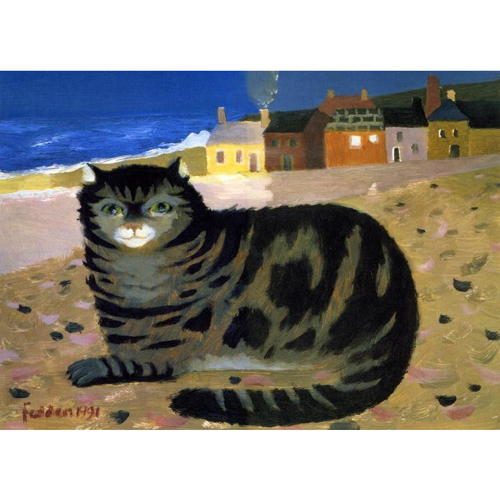 Mary Fedden Signed Ltd Ed Print - Cat on a Cornish beach