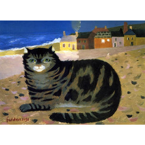 Mary Fedden Signed Ltd Ed Print - Cat on a Cornish beach - De Lacey Fine Art