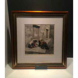 Harold Riley Signed Ltd Ed Print Northern Art - 'Marbles' - De Lacey Fine Art
