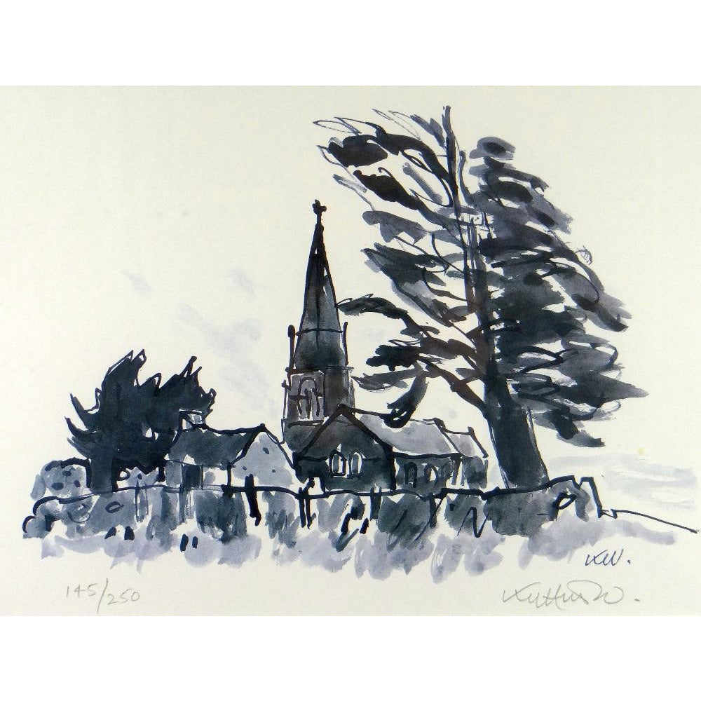 Kyffin Williams Limited Edition Print - Llanedwen Church by day