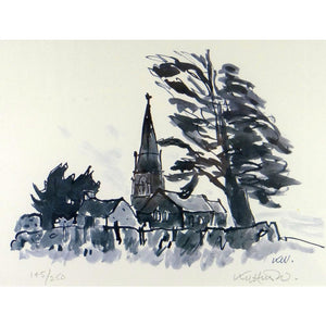 Kyffin Williams Limited Edition Print - Llanedwen Church by day - De Lacey Fine Art