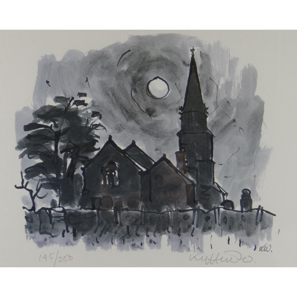 Kyffin Williams Limited Edition Print - Llanedwen Church by night
