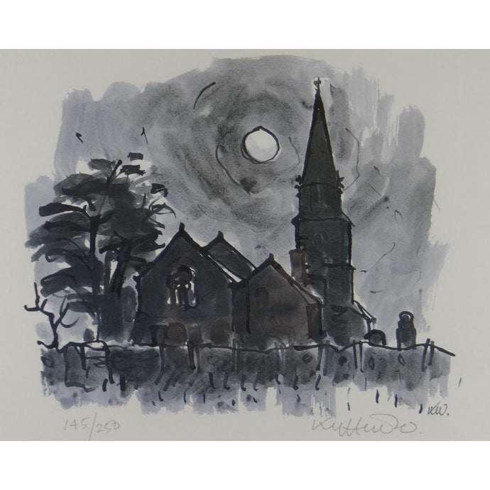 Kyffin Williams Limited Edition - Llanedwen Church by night - De Lacey Fine Art