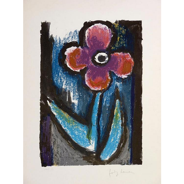 Josef Herman Signed Ltd Ed Print - Lyrical Flower