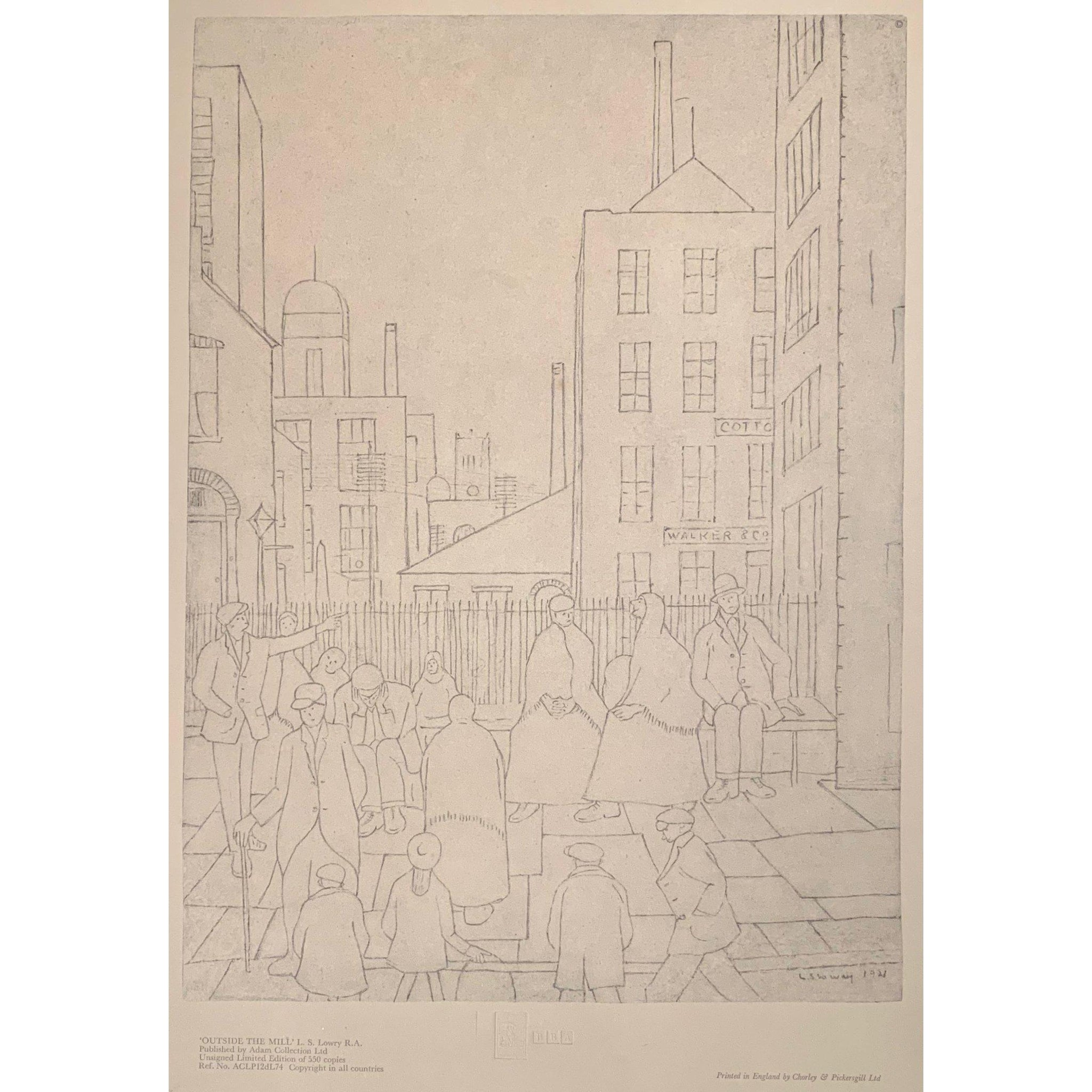 L S Lowry - Ltd Edition Print - Outside the Mill