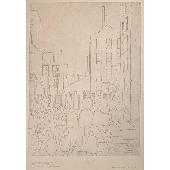 L S Lowry - Ltd Edition Print - Outside the Mill - De Lacey Fine Art