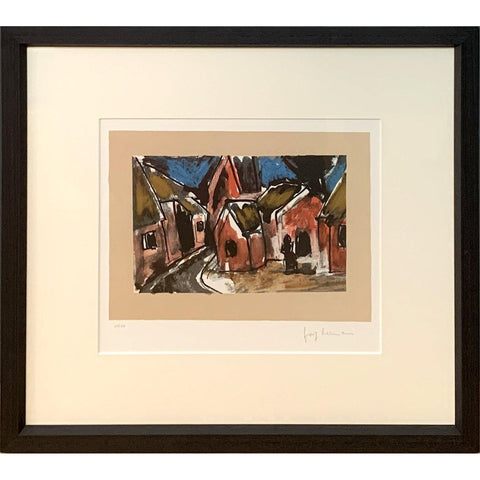 Josef Herman Signed Ltd Ed Print - Village Street Scene