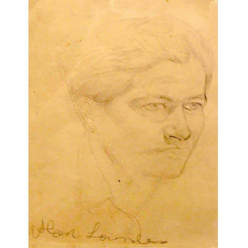 Alan Lowndes Pencil Drawing- Self Portrait - Northern A - De Lacey Fine Art