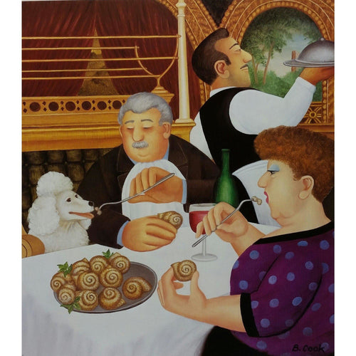 Beryl Cook Signed Ltd Ed Lithograph Print - 'Dining in Paris' - De Lacey Fine Art