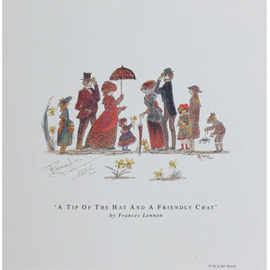 Frances Lennon Signed Print - A tip of the hat and a friendly chat - De Lacey Fine Art