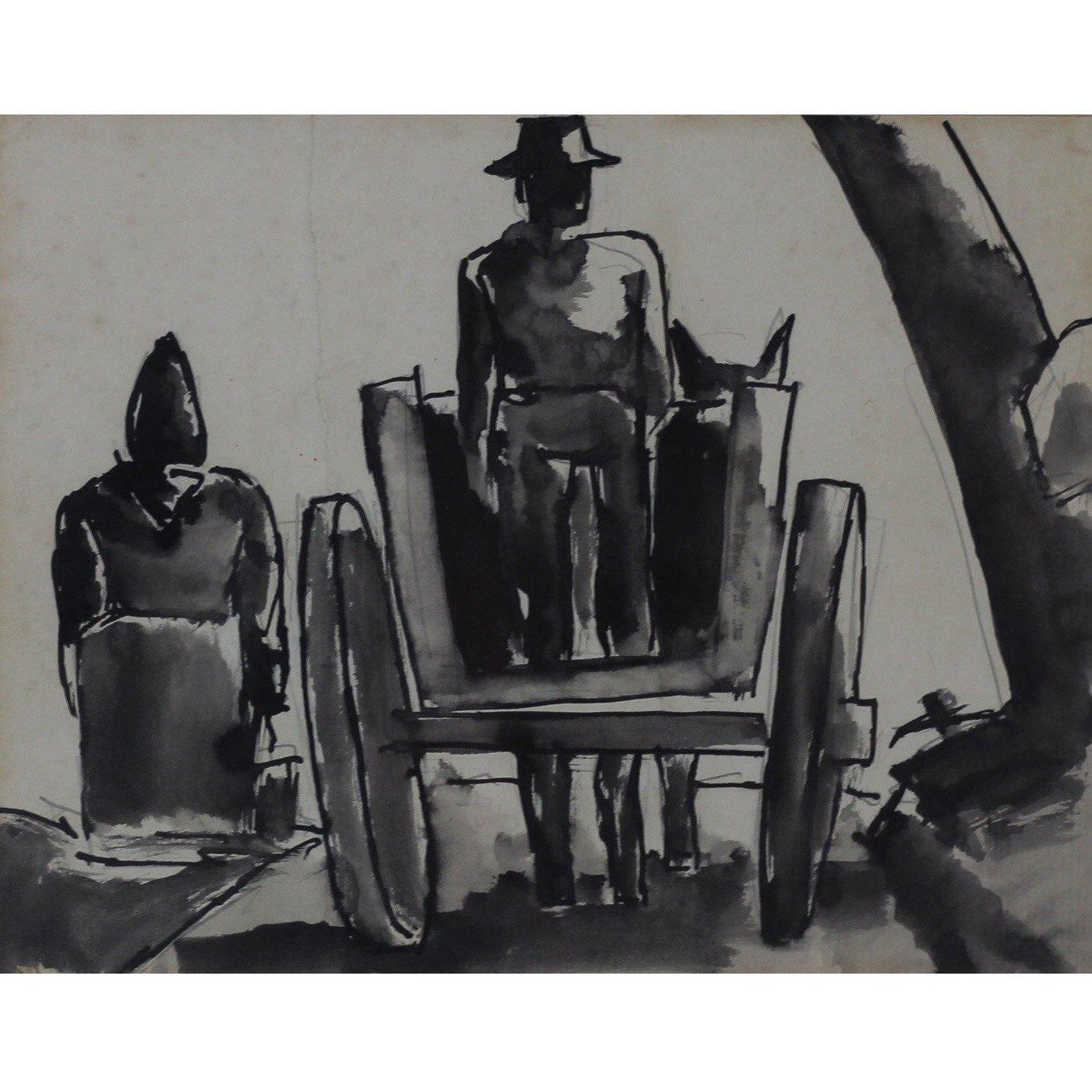 Josef Herman Original Pen and Ink Drawing - Horse and Cart