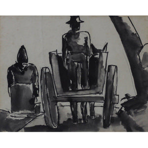 Joesf Herman Original Pen and Ink Drawing - Horse and Cart - De Lacey Fine Art