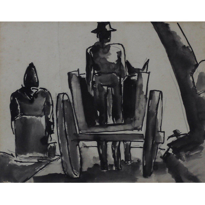 Josef Herman Original Pen and Ink Drawing - Horse and Cart - De Lacey Fine Art