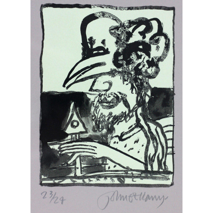 John Bellany Man with Hen Mask - De Lacey Fine Art