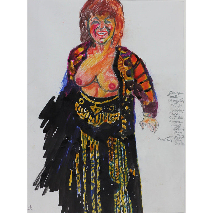 John Bratby Original art Gold Dress from Paris - De Lacey Fine Art