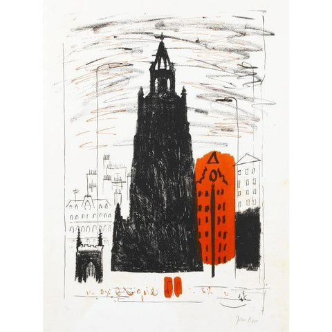 John Piper Signed Lithograph - St Nicholas Church Liverpool