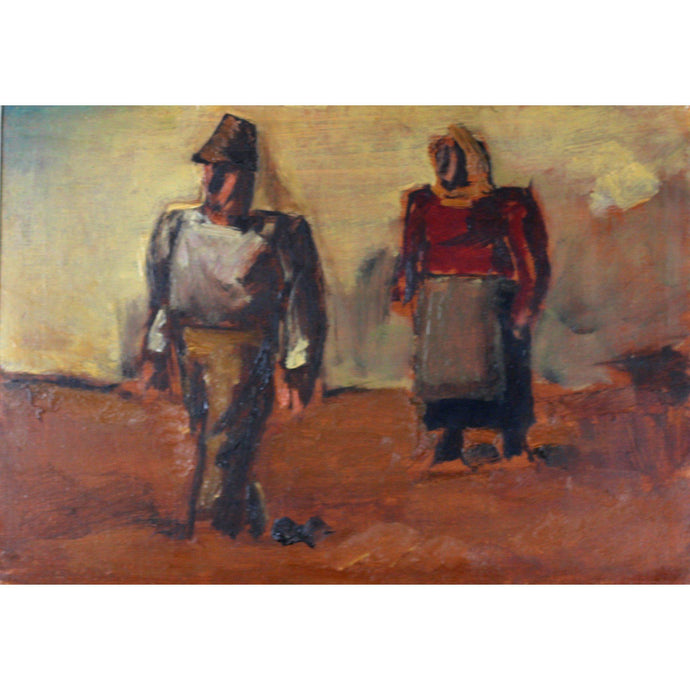 Josef Herman Original Oil Painting - Peasant Couple in the field - De Lacey Fine Art