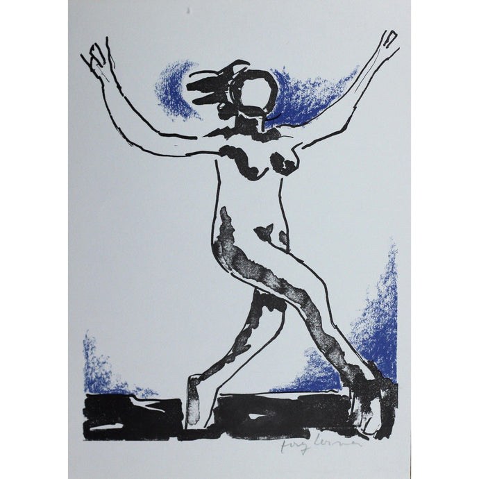 Josef Herman Signed Ltd Ed Print - Catullus, Dancing girl - De Lacey Fine Art
