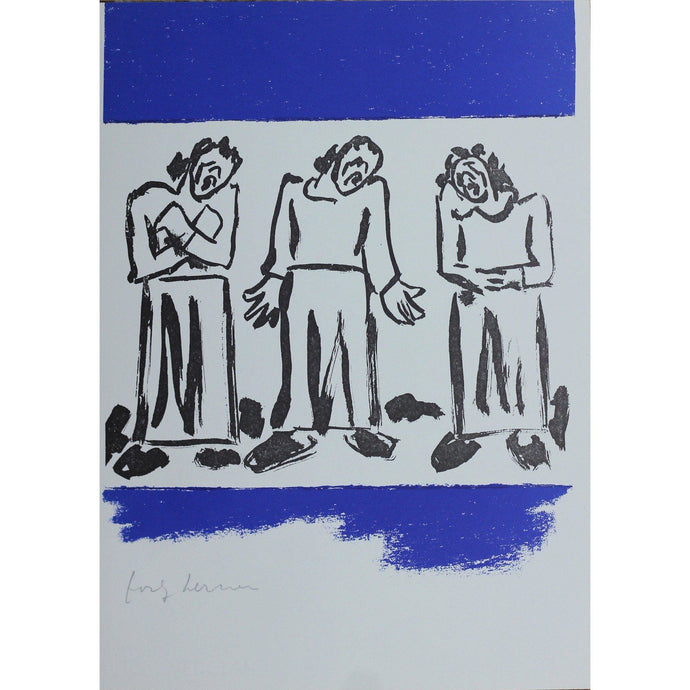 Josef Herman Signed Ltd Ed Print - Catullus, Women in the street - De Lacey Fine Art