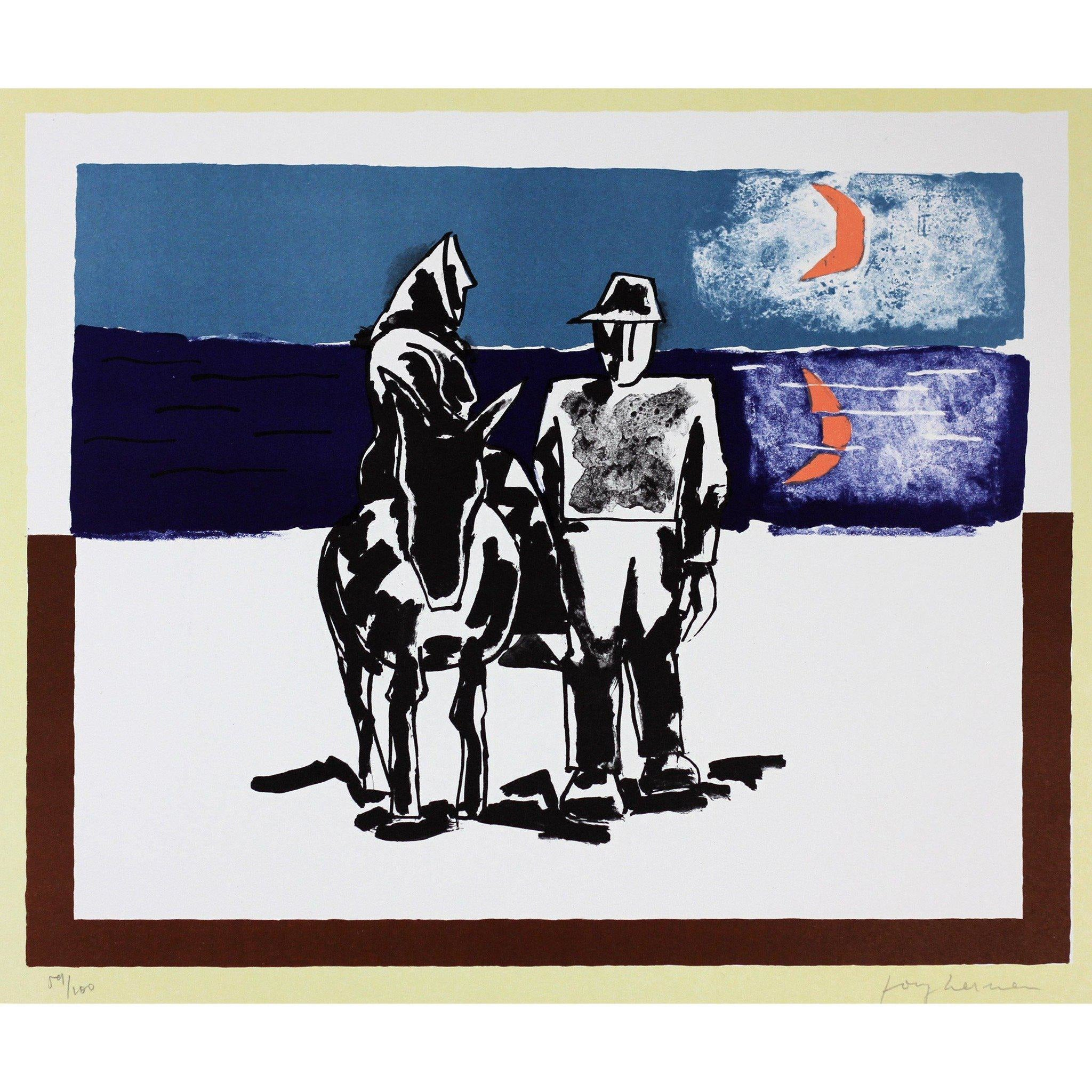 Josef Herman Signed Ltd Ed Print - On the way home
