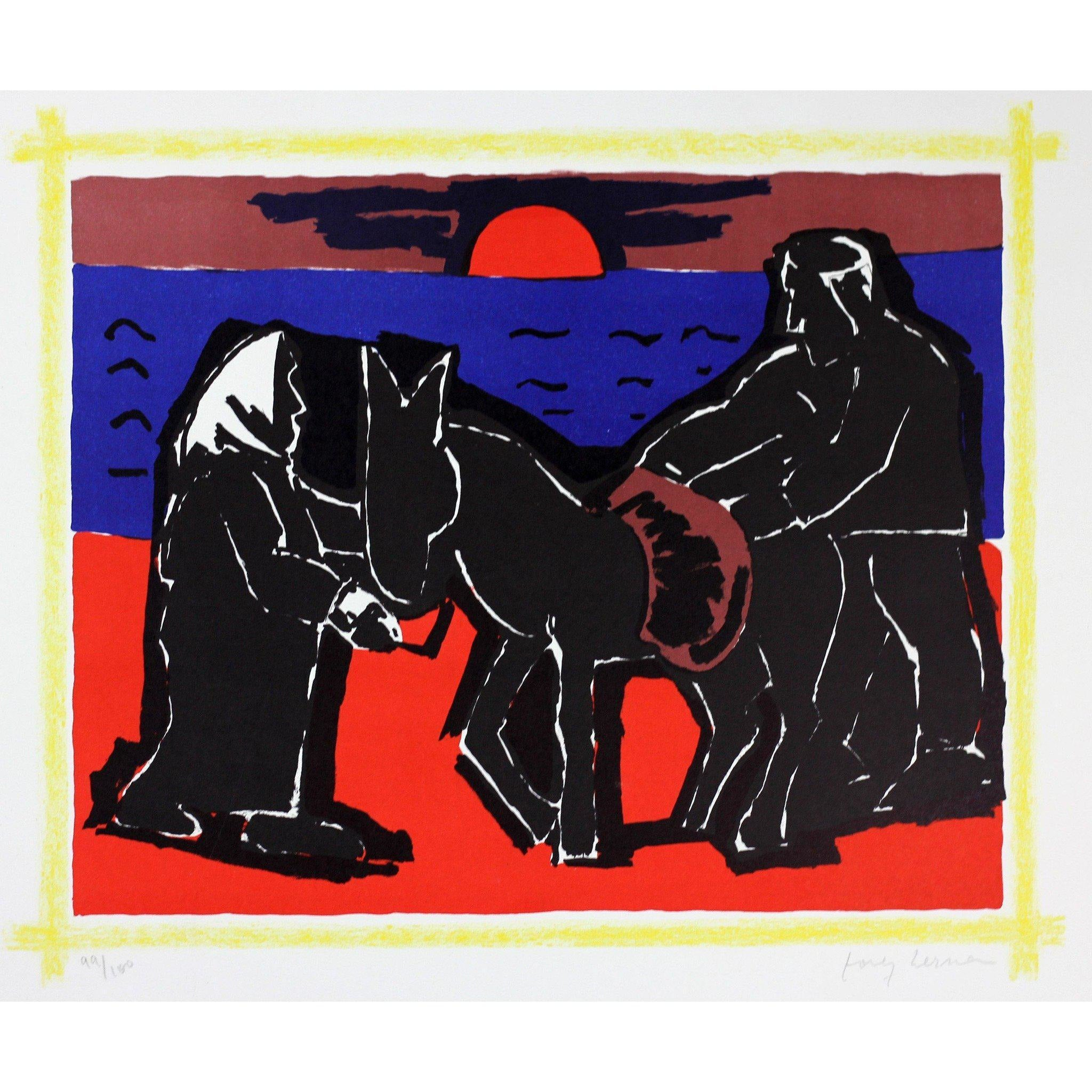 Josef Herman Signed Ltd Ed Print - Red Sun