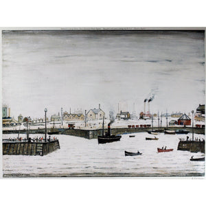 "L S Lowry - Signed Ltd Ed Print -  ""The Harbour"" - De Lacey Fine Art"