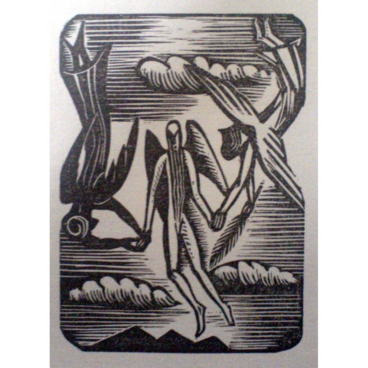 Paul Nash Ltd Ed Woodcut Print - The Two Angels